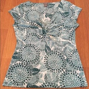 Ann Taylor Top V-Neck Knotted Twisted Front